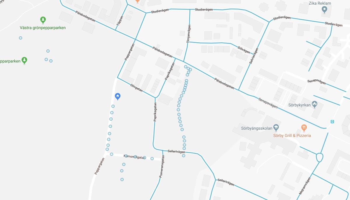 Street View / Pegman och blå linjer